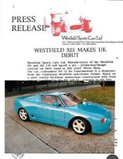 WESTFIELD XEI SPORTS CARS KIT CAR PRESS RELEASE AND PRESS PHOTO 'BROCHURE' 2004