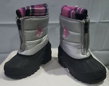 Girls  US Polo Winter Boots Gray/Pink  Size 10M