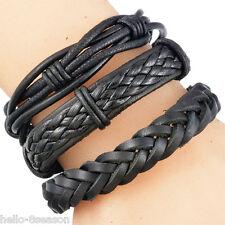 6PC Mens Black Weave Adjustable Bangle Multilayer Woven Leather Bracelet 20-22cm