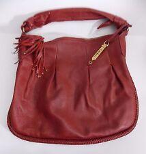 Cole Haan Shoulder Bag Tote Hobo Cranberry Pebbled Leather Handbag Tassel Braid