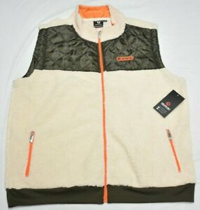 Akademiks Vest Jacket Men's 3XL 3XB 3X Quilted Sherpa Full-Zip Cream Olive Q485
