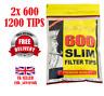 2 x ROLLING KING Large Bags of 600 SLIM CIGARETTE 6mm FILTER CIG TIPS