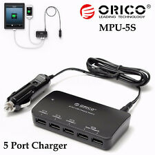 ORICO Mpu-5s 5 Port Smart USB Car Fast Charger Adapter for iPhone iPad Samsung