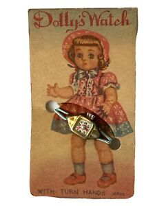 Vintage Doll Dolly's Watch With Turn Hands Made Japan On Original Card