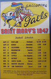 1947 St. Mary's (Gaels) College Football Schedule Poster