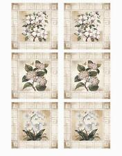 White Flower Dogwood Orchid 12 Tile Decal Stickers Plastic Glass Mirror IdeaStix