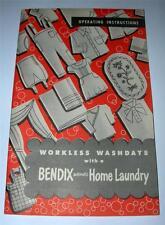 VINTAGE1947 BENDIX HOME LAUNDRY INSTRUCTION MANUAL