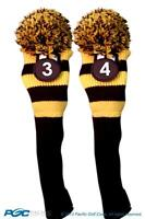 New 2 pc BLACK YELLOW 3 4 KNIT Hybrid Rescue golf club headcover Head cover