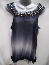 BNWT Womens Sz 12 Grey Topaz Designer Grey Beaded Cocktail Dress RRP $100