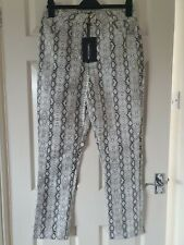 Pretty Little Thing BNWT PU Leather Look Snake Skin Print Trousers 12 Pockets