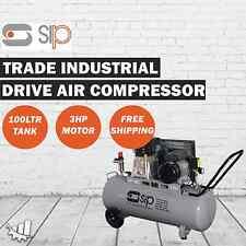 SIP Trade Industrial 3HP 100L 3HP Belt Drive Air Compressor - 9.6 CFM/270LPM
