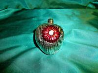 ~ antiker Christbaumschmuck Glas alte Formkugel Herz Rillen silber Blume rot ~