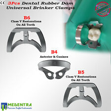 MEDENTRA® Rubber Dam Brinker Clamps Universal Restorations Tooth Molar Clamp 3pc