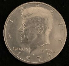 1973 D Kennedy half dollar with machine doubling reverse