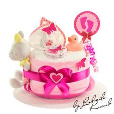 Windeltorte für Baby Girl / Geschenk zur Geburt, Taufe, Babyparty, Babygeschenk