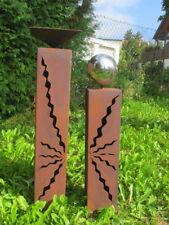 Gartendeko Rost Säulenpaar  60 cm + 80 cm Stehlen Skulptur Edelstahlkugeln