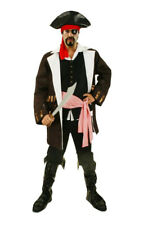 Adult Caribbean Pirate Costume Mens Buccaneer Jack Sparrow Fancy Dress Outfit