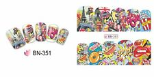 Full Wrap Water Transfers Nail Art Stickers Decals POW New York Paris London 351