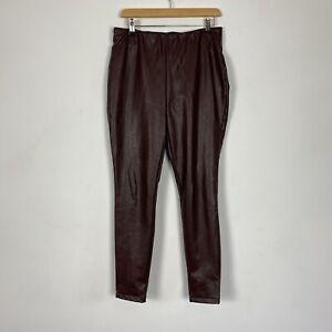 Next Brown Faux Leather Stretch Trouser Leggings Size 14L