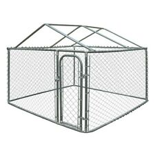 ALEKO Dog Kennel DIY Chain Link Box With Roof Frame 13 x 7.5 x 6 Ft