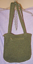 Large The SAK Crocheted Rare Green Olive Hobo Bucket Style Zip Closure Hand Made