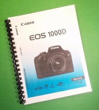 """Canon EOS 1000D Camera 196 Page COLOR LASER 8.5X11"""" Owners Manual Guide"""