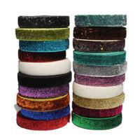 """10Yards 5/8"""" Shiny Rainbow Glitter Fold Over Ribbon FOE Sewing Elastic Band"""