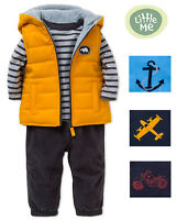 LITTLE ME Boys 3-Piece Outfit Set with Jacket or Vest, Shirt and Pants