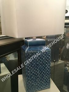 FRENCH COUNTRY DECOR SAPPHIRE BLUE GLAZE CERAMIC TABLE LAMP BRUSHED NICKEL METAL