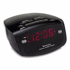 Westclox Red LED Display Dual Alarm Clock Radio with Easy Set Radio Tuning 80209