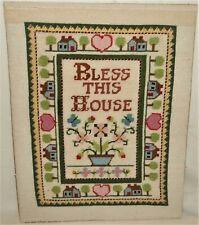 Vintage Bless This House Cross Stitch Needlepoint Sampler 14 x 18 Finished Vtg