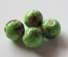 30pcs 10mm Round Porcelain/Ceramic Beads - Green / Dark Magenta Pink Flowers