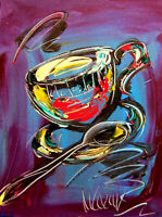 Original Painting COFFEE TIME no reserve STRETCHED   signed CANVAS COA