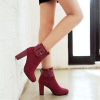 Womens Suede Ankle Boots Round Toe Block High Heels Shoes Buckle Solid Booties