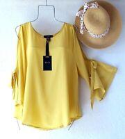 New~Medium~Mustard Yellow Gold Peasant Blouse Tie Sleeve Fall Boho Top~8/10/M