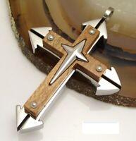 Herren Halskette Edelstahl Holz Anhänger Holzkreuz Männer +50cm Halsband schwarz