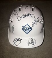 2019 TAMPA BAY TB RAYS TEAM SIGNED AUTOGRAPHED LOGO BASEBALL BATTING HELMET COA