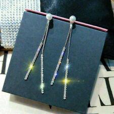 Crystal Pearl Long Drop 925 Sterling Silver Dangle Tassel Stud Earrings Women MR