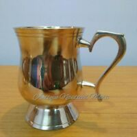 Antique Vintage Brass Coffee Tea Mug Silver Finish Collectible Gift