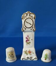 Hammersley Fine Bone China Miniature Grandfather Clock + 2 Porcelain Thimbles