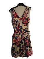 Closet V Back And Front Floral belted waist  Dress Uk Size 10 Bnwt