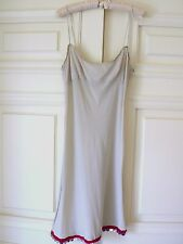 €700+ PRADA LtGrey Silk-Blend Jersey Cami Dress Leather Trim & Mirror Beads 44IT