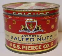 Old Vintage 1950s SS PIERCE COMPANY EPICURE NUT GRAPHIC TIN BOSTON MASSACHUSETTS