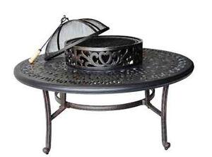 Patio outdoor tables Elisabeth Cast Aluminum Ice Tea firepit table Desert Bronze