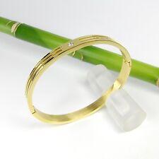 Edelstahl Klapp Armreif poliert mit Zirkoniastein B-Ware Farbe gold