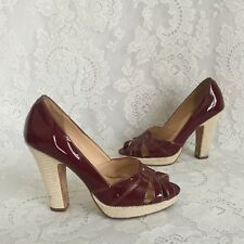 Cole Haan Red Burgundy Patent Leather Heels Pumps Size 7