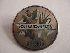 1890 SCOTLAND V WALES FOOTBALL MATCH HALLMARKED SILVER ENAMEL BROOCH PIN BADGE