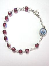 Rosary Bracelet Garnet Crystal Beads Lady of Grace / Divine Mercy Charm Italy
