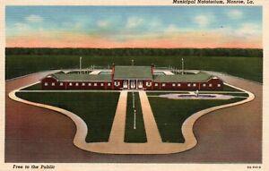 Monroe Louisiana Municipal Natatorium Linen Vintage Postcard