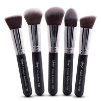 Nanshy Foundation Makeup Brushes Black Cosmetic Kabuki Set 5 Make Up Brush Types
